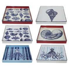 Perfect for creating an ocean-themed vignette or displaying eclectic candle arrangements, these charming trays showcase sea life-themed surfaces for coastal ...