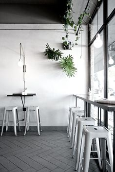 Studio Number 19, grey floors, white steel bar stools, foliage in black pots