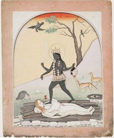 The Goddess Kali Artist/maker unknown, Indian Geography: Made in Himachal Pradesh, India, Asia Probably made in Guler, Himachal Pradesh, India, Asia Date: c. 1820 Medium: Opaque watercolor and gold on paper Dimensions: Image: 8 11/16 × 6 13/16 inches
