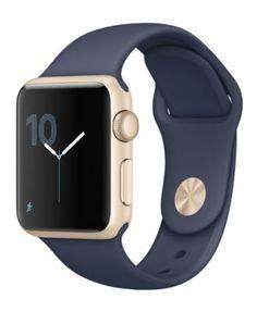 Apple Watch Series 2 38mm Gold Aluminum Case with Midnight Blue Sport Band | macys.com