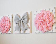 Decoración infantil - Trio Set 12 x 12 lienzos WALL Decor luz rosas en gris…