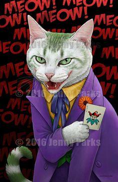 Joker Cat Poster by jennyparksillus on Etsy