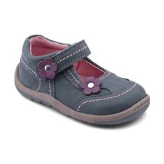 Petals - Grey Leather - Start-rite girls First-walking shoes are made of soft leather with a flexible sole, and padded ankle for extra protection.
