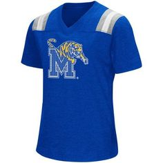 Colosseum Athletics Girls' University of Memphis Rugby Short Sleeve T-shirt (Blue, Size Large) - NCAA Licensed Product, NCAA Youth Apparel at Acade...