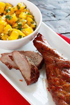 Mango Recipes, Ww Recipes, Clean Recipes, Healthy Recipes, Skinnytaste Recipes, Broccoli Cheddar Quiche, Macro Meals, Pork Tenderloin Recipes, Mango Salsa