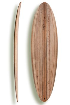 wooden surfboard make in hollow construction out of balsa wood.