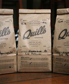 Quills Coffee packaging by Pedale Design. Nice and rugged.