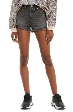 Levi's® Original High Waist Cutoff Denim Shorts (Eat Your Words) Denim Cutoffs, Black Denim Shorts, Boyish Style, Sequin Midi Dress, Spring Summer Fashion, Trendy Outfits, Mom Jeans, High Waist, Eat