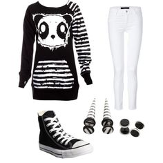 Striped panda scene outfit so cute and they are fake plugs which is nice for people who cant get real plugs