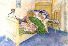 Carl Larsson (1859-1928): In Mother's Bed