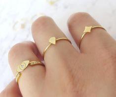 14K Rose Gold Evil Eye RingDainty diamond ringEvil eye