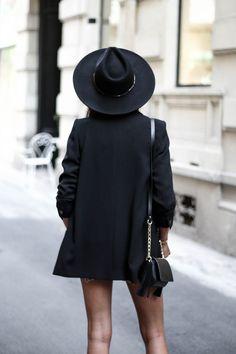 JUNESIXTYFIVE - Blazer noir chapeau tendance automne 2016