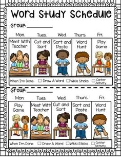 WORD STUDY STARTER KIT - 40 pages of resources to help implement any word study program! Word study student schedules, schedule cards, posters, activities, and more! TeachersPayTeachers.com