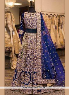 India's premier online store for buying the latest collection of indian designer lehenga choli. Order this genius embroidered, patch border, resham and zari work velvet lehenga choli. Indian Wedding Outfits, Bridal Outfits, Bridal Dresses, Lehenga Choli Online, Bridal Lehenga Choli, Blue Bridal, Indian Bridal, Lehnga Dress, Lehenga Gown