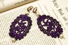 lace earrings CANDICE purple by tinaevarenee on Etsy, $22.00
