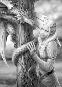 Anne Stokes - Amazing is the only way to describe her artwork that and I love the fantasy theme./ small green dragons in my fantasy world are healing dragons. they are really smaller than this dragon, kitten sized. Anne Stokes, Fantasy Artwork, Fantasy Images, Fantasy Love, Elfen Fantasy, Dragons, Elfa, Green Dragon, Dragon Art