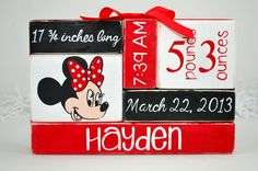 Minnie Mouse Inspired Nursery Baby Stat WoodenBlock Shelf Sitter Stack on Etsy, $17.00