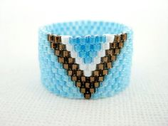 Peyote Ring Blue Brown Seed Bead Band Beadwork Minimalistic Simplicity  size  5, 6, 7, 8, 9, 10, 11, 12 on Etsy, $16.00