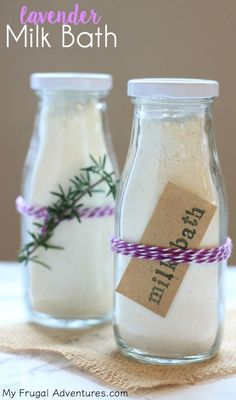 Simple homemade lavender milk bath recipe- perfect for soothing and moisturizing the skin!