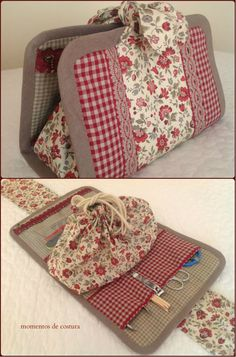 How to DIY Shelly's Salvaged Spool Ottoman Sewing Case, Sewing Tools, Sewing Hacks, Fabric Crafts, Sewing Crafts, Sewing Projects, Sewing Makeup Bag, Jean Crafts, Sewing Accessories