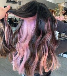 Pink Peekaboo Hair, Peekaboo Color, Pastel Pink Hair, Hair Color Pink, Hair Inspo, Hair Inspiration, Hidden Hair Color, Hair Highlights, Dark Hair