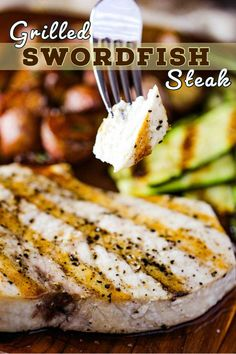 Grilled Swordfish Steaks are incredibly delicious and easy to prepare. They are meaty and are simliar to a juicy steak. Grilling Recipes, Seafood Recipes, Gourmet Recipes, Appetizer Recipes, Snack Recipes, Grilled Swordfish Steaks, Swordfish Recipes, Roasted Fennel, Incredible Recipes