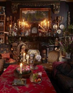 If you want to create a Victorian living room, you must be very particular about ornate designs. And don& be shy when selecting hues to create a Victorian living room. Victorian Living Room, Victorian Interiors, Victorian Decor, Victorian Homes, Victorian Tapestries, Victorian Fireplace, Victorian Design, House Interiors, Gothic Kitchen