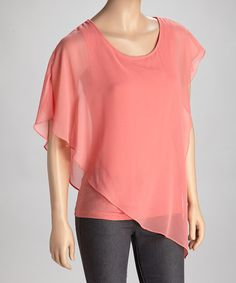 Look what I found on #zulily! Coral Sheer Asymmetrical Layered Top - Women by Trisha Tyler #zulilyfinds