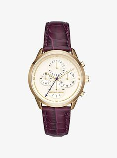 Slater Gold-Tone And Embossed-Leather Watch