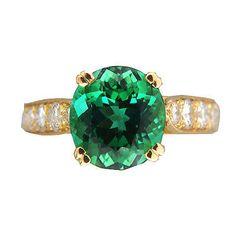 Vintage 3.74ct Natural Blush Green Tourmaline 18k Gold .60ct Full Diamond Ring