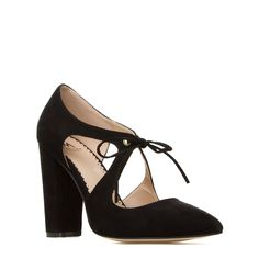 Davos - ShoeDazzle The chunky block heel on this flirtatious pump by MADISON lends a casual charm to day-or-night Davos. The lace-up detail and cutouts flawlessly complete this pointed-toe silhouette.