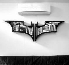 bat-symbol bookshelves.
