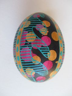Pysanka - batik egg on chicken egg shell, Ukrainian Easter egg, hand painted egg