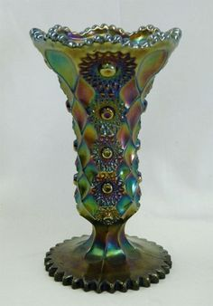 "Millersburg Honeycomb  Hobstar 8 1/2"" Carnival Glass vase - purple.  Rare!"