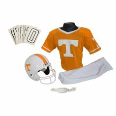 College Football Deluxe Uniform Set - Tennessee - Pass along the college football tradition to your young fan with this official College Football Deluxe Uniform Set. Included is an official team jersey, team helmet with authentic logo and team colors, and team pants that will have them looking ready to take the field. The set also includes iron-on numbers (0-9) for the back of the jersey. - See more at: http://franklinsports.com/shop/college-deluxe-uniform-set