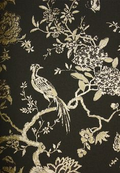one dining room wall: Beautiful bird and branch design wallpaper in metallic gold on black.