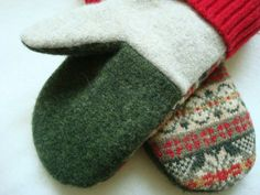 Recycled Felted Sweater Wool Mittens ~ Red & Green Fair Isle Mittens  Eco-Friendly ~ Fleece Lined    Upcycled from reclaimed felted wool sweaters, these mittens are very warm and soft! The outer wool is thick and fuzzy; inner lining is soft fleece...putting on these mittens feels like getting a warm hug!   The back features a tan, gold, red, and green Fair Isle pattern. The palms are green and the heel of the hand is oatmeal beige. Cuffs are red and accented with reclaimed vintage buttons...