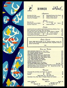1957 dinner menu from Torch Room, Reef Hotel - Waikiki, Hawaii