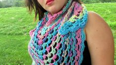 Crochet Triangle Shawl in Candied Rainbow by TangledYarnCreation