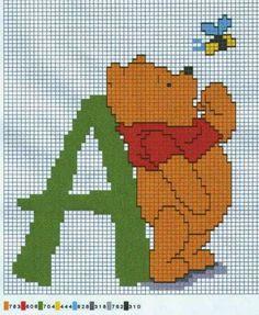 Winnie the Pooh Cross Stich Alphabet. Alfabeto de Winnie the Pooh para Bordar.