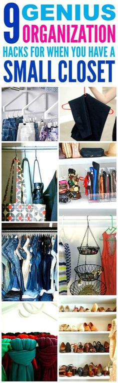 These 9 closet organization hacks are THE BEST! I'm so happy I found these GREAT tips! Now I know how to get more space for my small closet and small apartment! Definitely pinning!