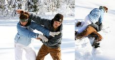 Snowball fight family pictures