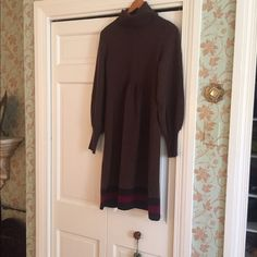 Cashmere brown dress Soft nicely draped dress in cashmere Badgley Mischka Dresses Long Sleeve