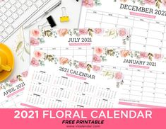 Printable 2021 Floral Calendar Landscape Major Holidays, 2021 Calendar, Landscape Prints, Hole Punch, Design Elements, Free Printables, Floral Design, Calendar Templates, Presents