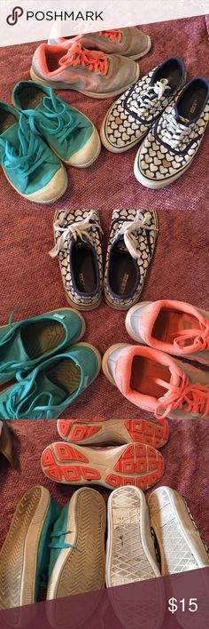 3 pairs of kiddo shoes. Nike. Joe boxer. Keen Three pairs of kids' shoes. We've outgrown them!  Joe boxer with hearts is an adult/women's size 6, so a big kid/ youth 4. Keen are youth size 3.5. Nike are youth 4. 😊. Worn but definitely have many, many mikes left.  Not looking to make money. Would just like these to have a new home. Shoes