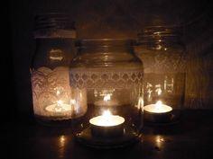 DIY candle jar decor - use anywhere but nice as centerpiece on tables for wedding decor