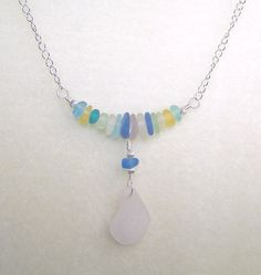 Sea Glass Necklace Seaglass Jewelry 16 Inch Short Necklace Pastel Jewelry Beach Jewelery Pendant Necklace Gift Ideas for Her from Canada