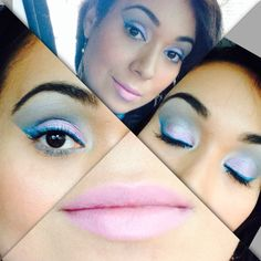 blue eyeshadows from bh cosmetics and pink eyeshadow from urban decay. blue eyeliner from sephora. Mac snob lipstick