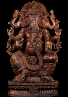 "LOUNGING STATUES OF ganesha | SOLD Three Headed Ganesha Sculpture 48"": Hindu Gods & Buddha Statues"