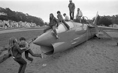 Kids play happily on Larsen Park's F-8 Crusader fighter jet in 1975. The lead-tainted jet was removed in 1993.